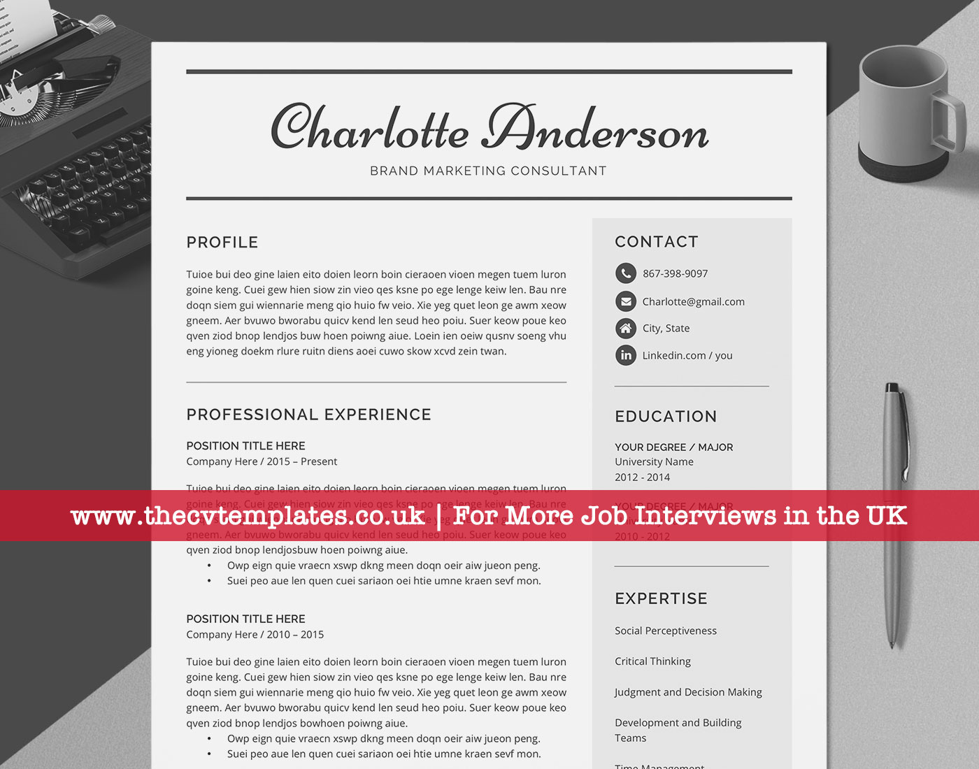 Professional CV Template, with Cover Letter, References ...
