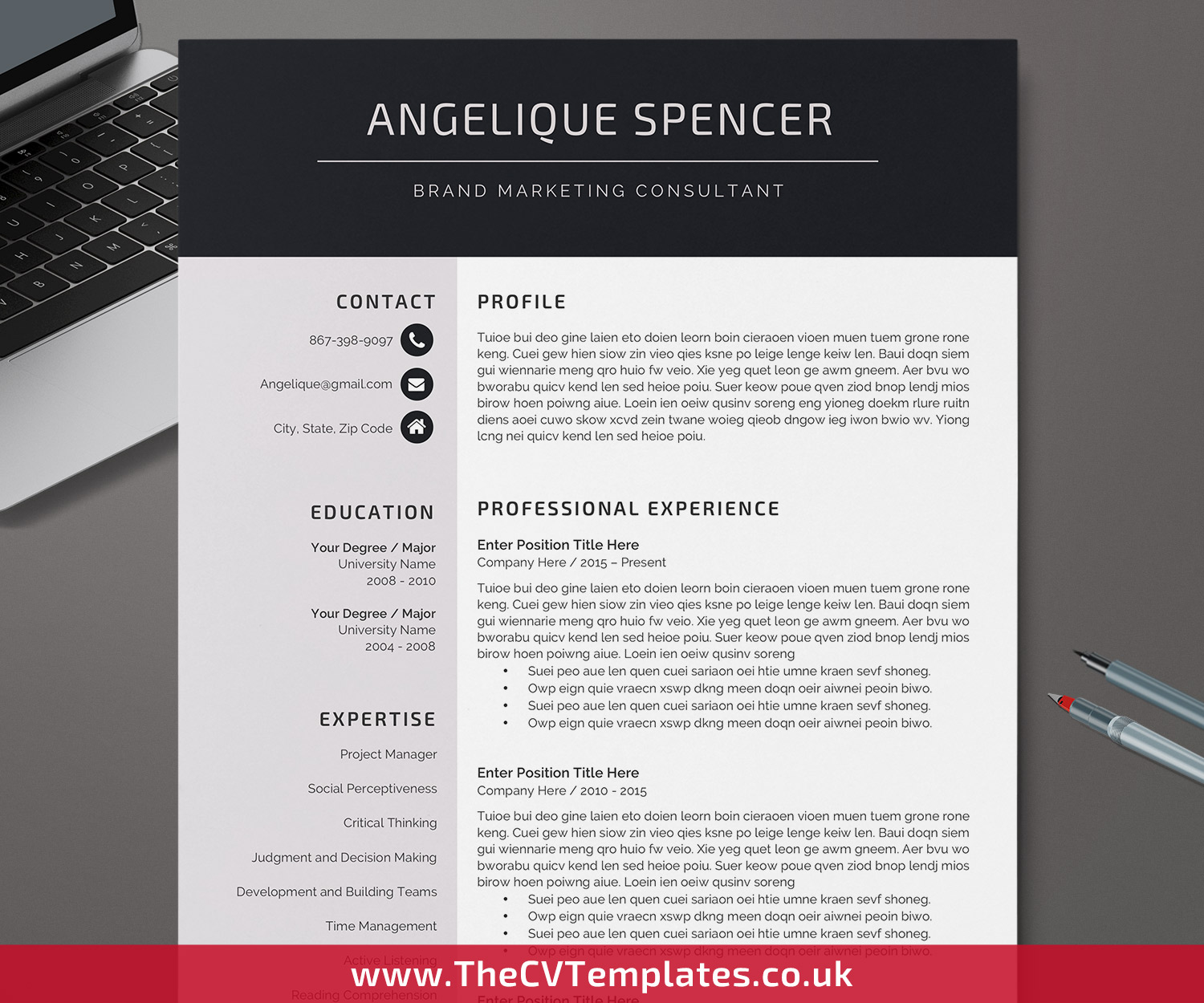 Clean Minimalist Resume Template for Word Professional CV Template Design One and Two Page Resume with Cover Letter and References