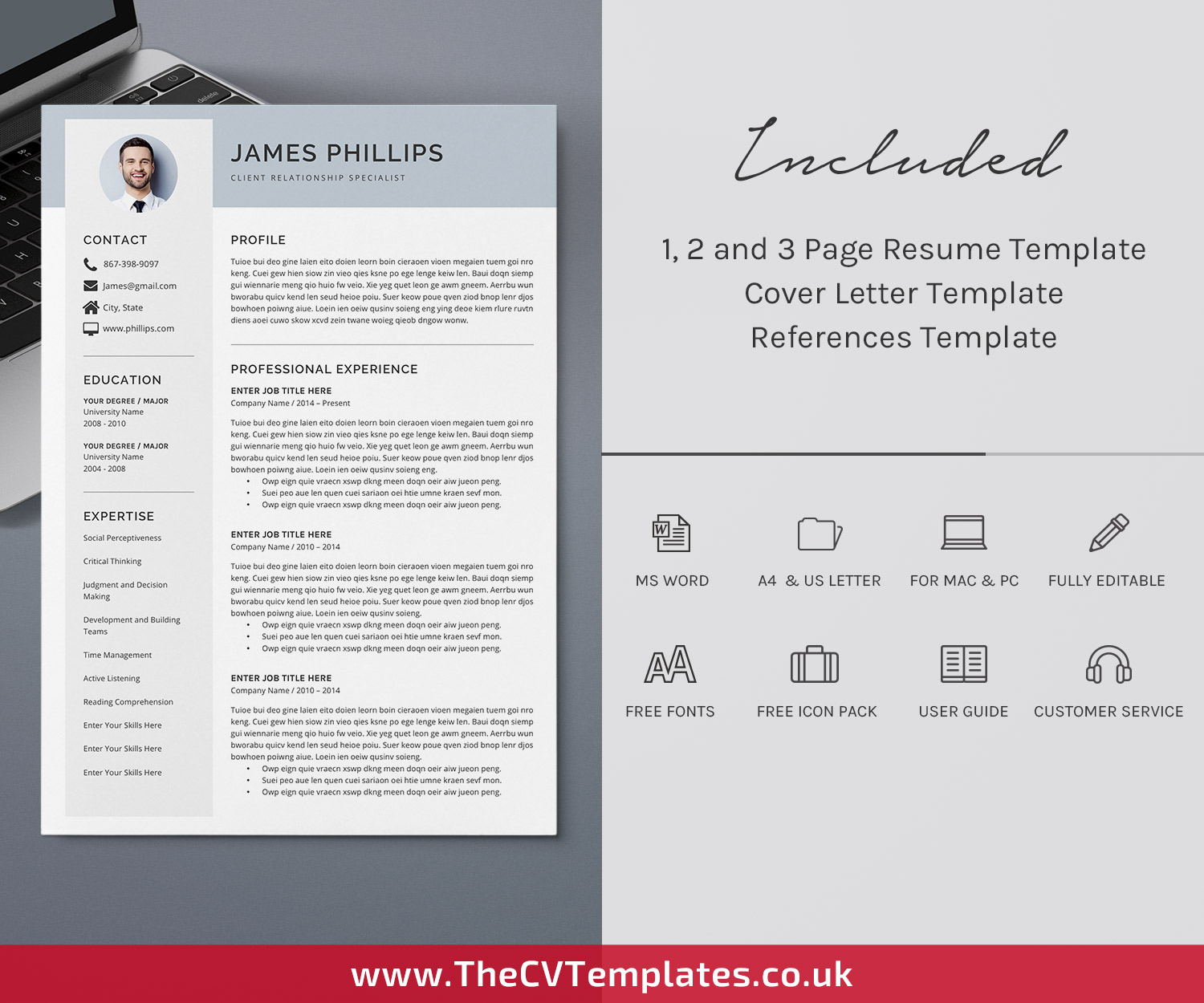 Clean Cv Template For Ms Word Curriculum Vitae Cover Letter References Modern Resume Professional Resume Editable Resume Job Resume 1 3 Page Resume Template Instant Download Thecvtemplates Co Uk