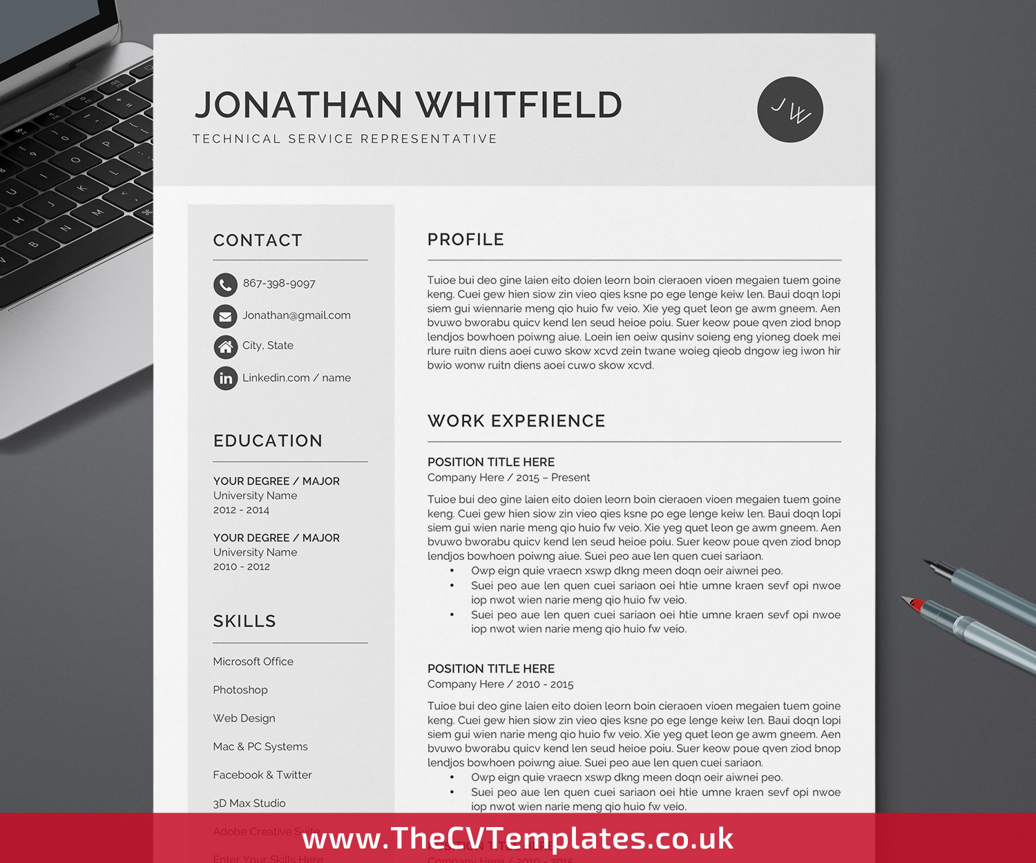 Professional CV Template for MS Word, Modern Resume Template, Curriculum  Vitae, Simple CV Format, 300 Page, 300 Page, 30 Page Resume, Editable Resume for  ...