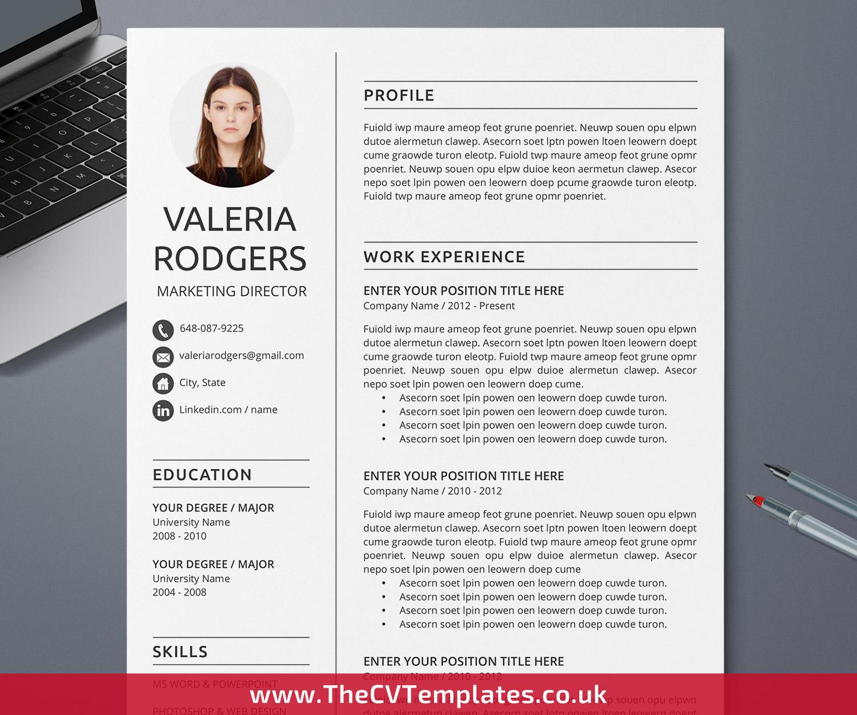 Professional CV Template for Microsoft Word, Curriculum Vitae, Modern  Resume Format, Creative Resume Design, 300, 300, 30 Page Resume, Editable Simple  ...