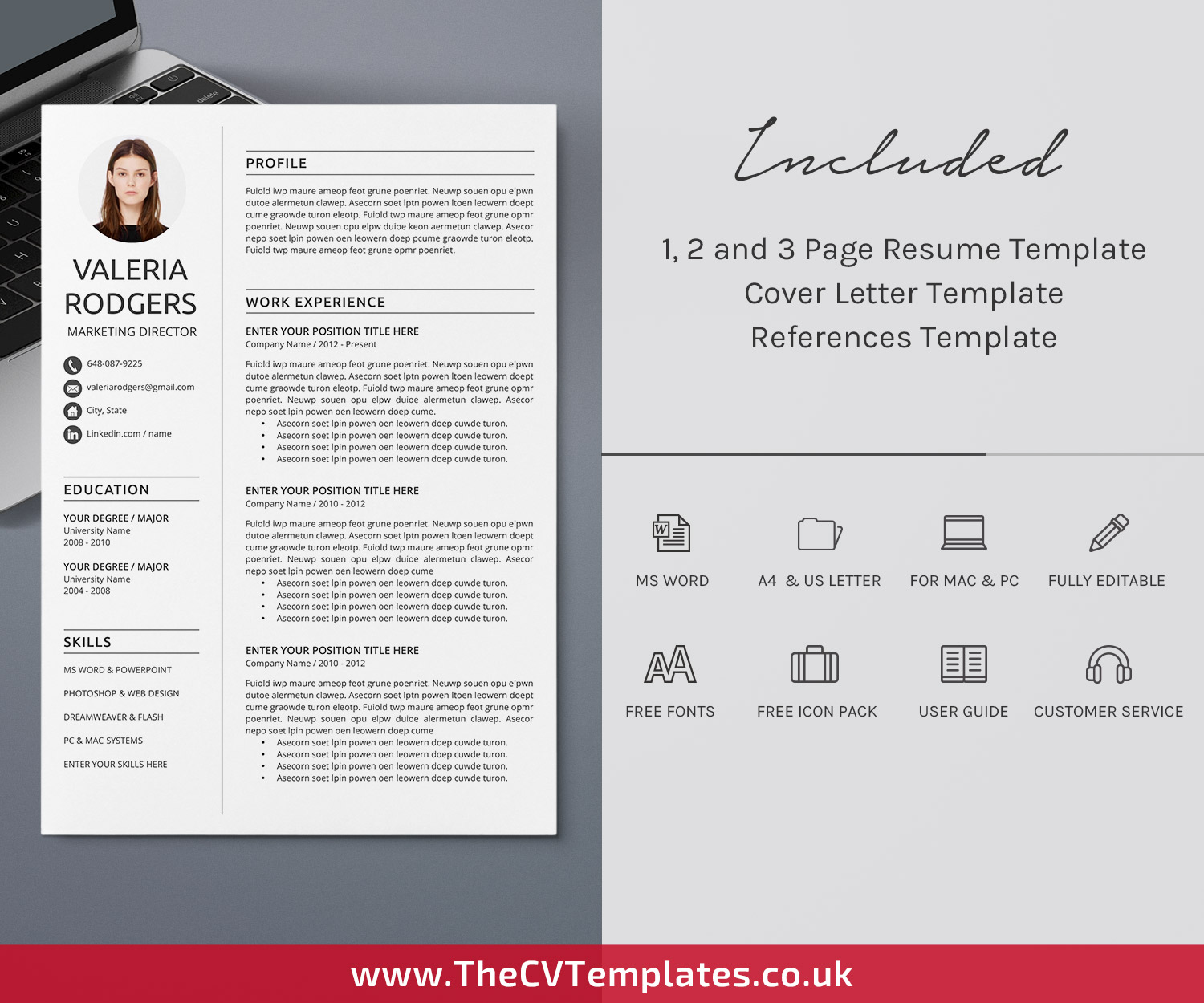 Professional Cv Template For Microsoft Word Curriculum Vitae Modern Resume Format Creative Resume Design 1 2 3 Page Resume Editable Simple Resume For Job Seekers Instant Download Thecvtemplates Co Uk