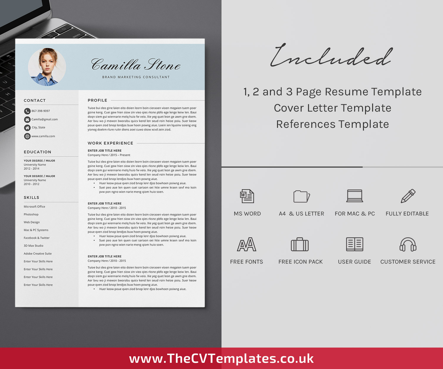 Resume Template for Word /& Pages Instant Download  Professional Resume  One and Two Page  Cover Letter Template  Marketing Resume